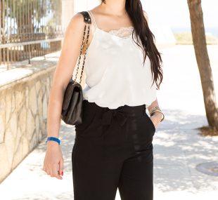 Minimalist Style – Schwarze Culotte und weißes Camisole