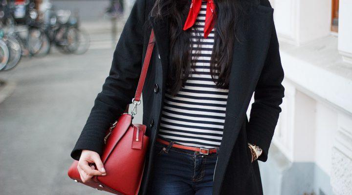 Outfit: Zara Coat, Marinière und Blue Jeans