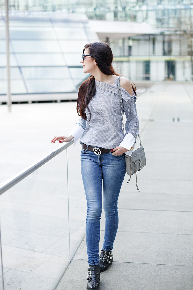 Outfit: One-Shoulder, Off Shoulder, Streifen, Bluse, SheIn, Trend, Outfit, Fashion, Modeblogger, Levis, Gucci, Rebecca Minkoff, Mini Mac, Hannover, Shades of Ivory