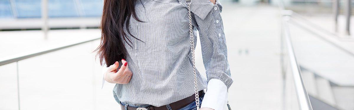 Outfit: One-Shoulder Streifenbluse und Mini M.A.C von Rebecca Minkoff