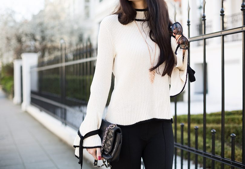 Outfit: Statement-Sleeves, Steg-Leggings und Sling-Pumps