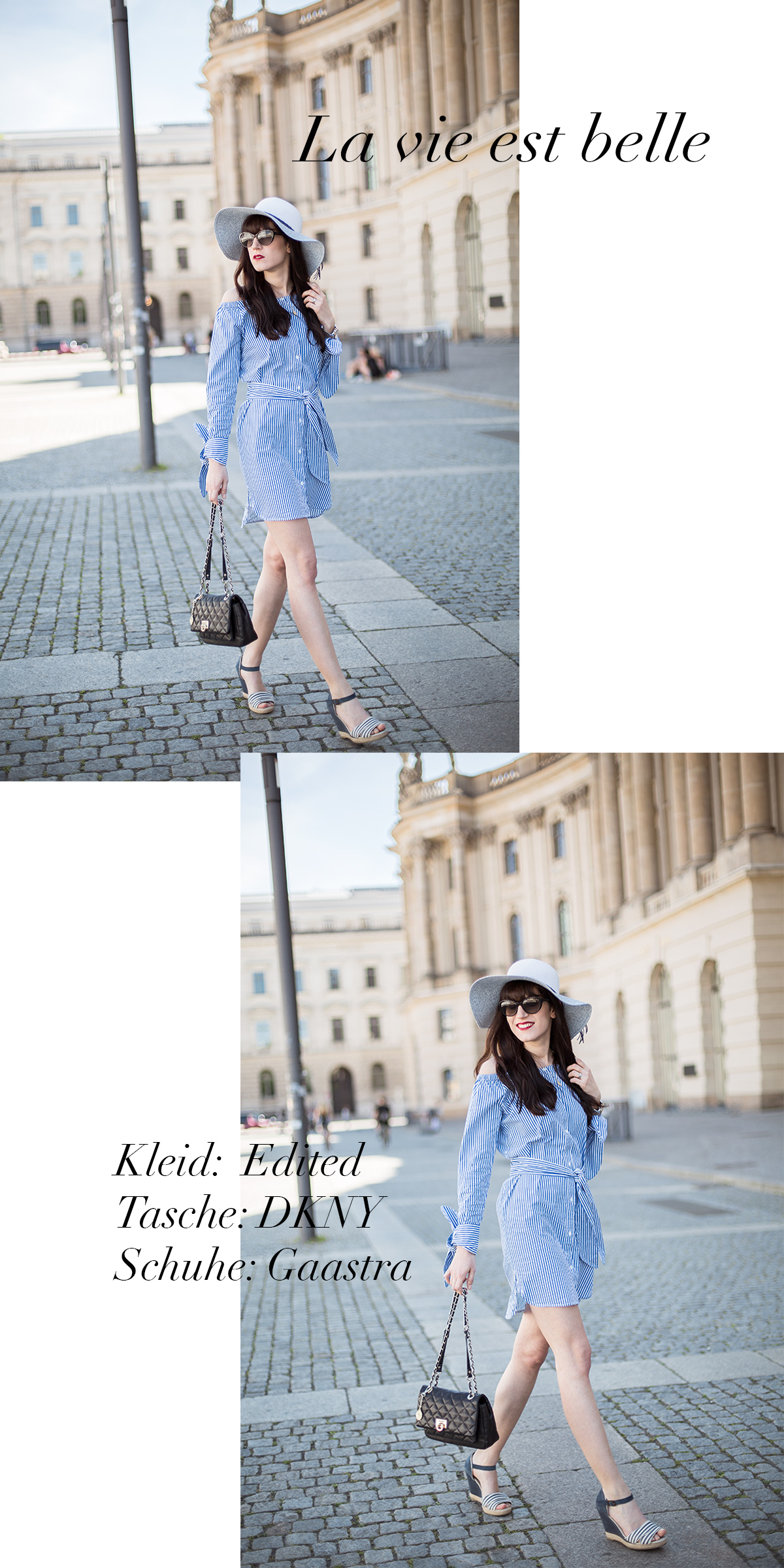 Bild: Outfit, Carmenausschnitt, Off Shoulder, Streifenkleid, Kleid, Edited the Label, About You, Sailor Wedges, DKNY, Streifen Wedges, Look, Streetstyle, Outfit, ootd, Style, Blogger, Fashionblogger, Modeblogger, Shades of Ivory, Berlin