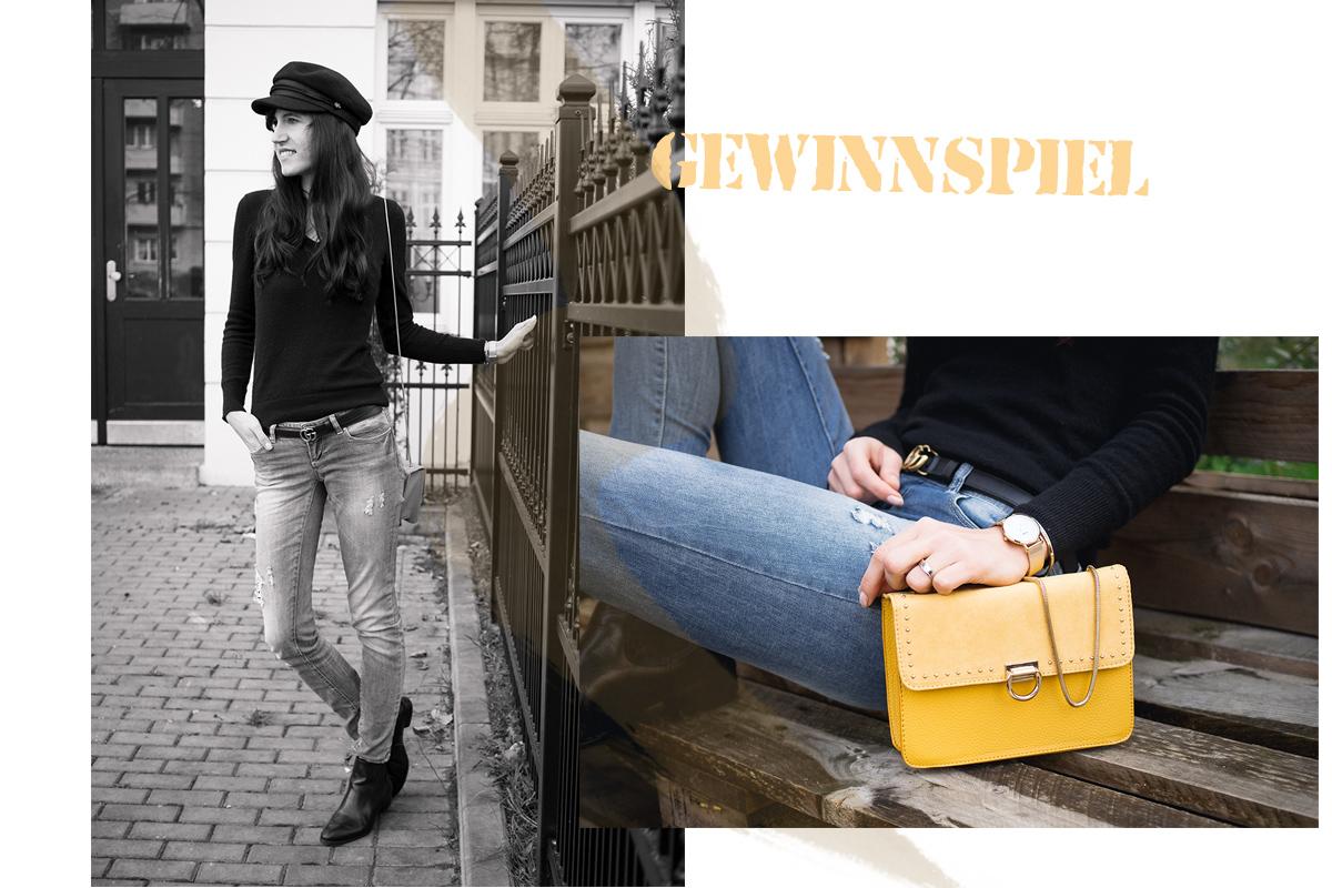 Bild: Outfit, Handtasche, gelbe Tasche, Baker Boy,, Asos, Gucci, Orsay, Blogger, Blogger Berlin, Frauen Handtaschen, Designertasche, Cluse,