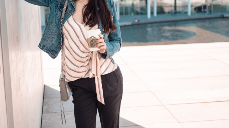 Outfit: MANGO ADDICTED – Streifentop mit Schleife