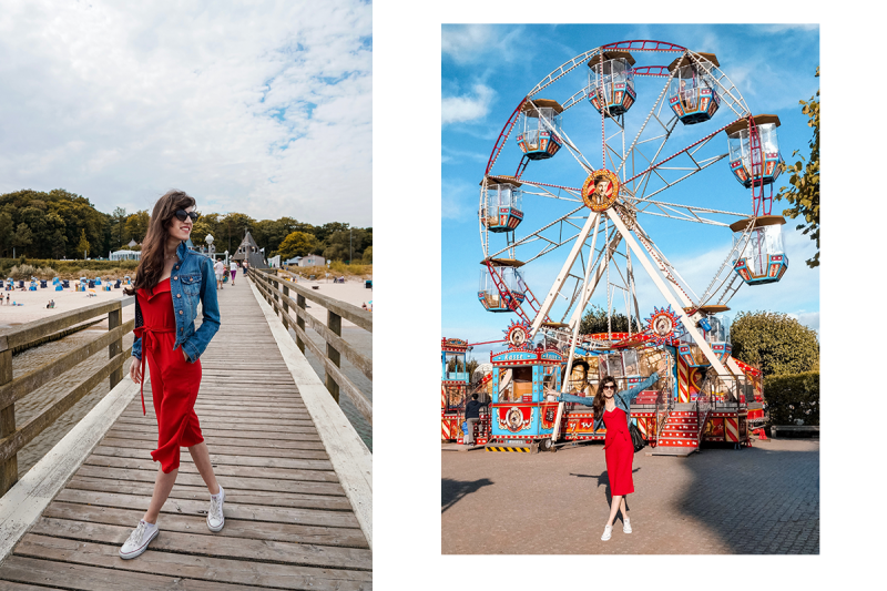 Bild: Outfit, Jumpsuit, roter Jumpsuit, Flower by Kenzo, Flower by Kenzo Red Edition, Ostsee, Rügen, Usedom