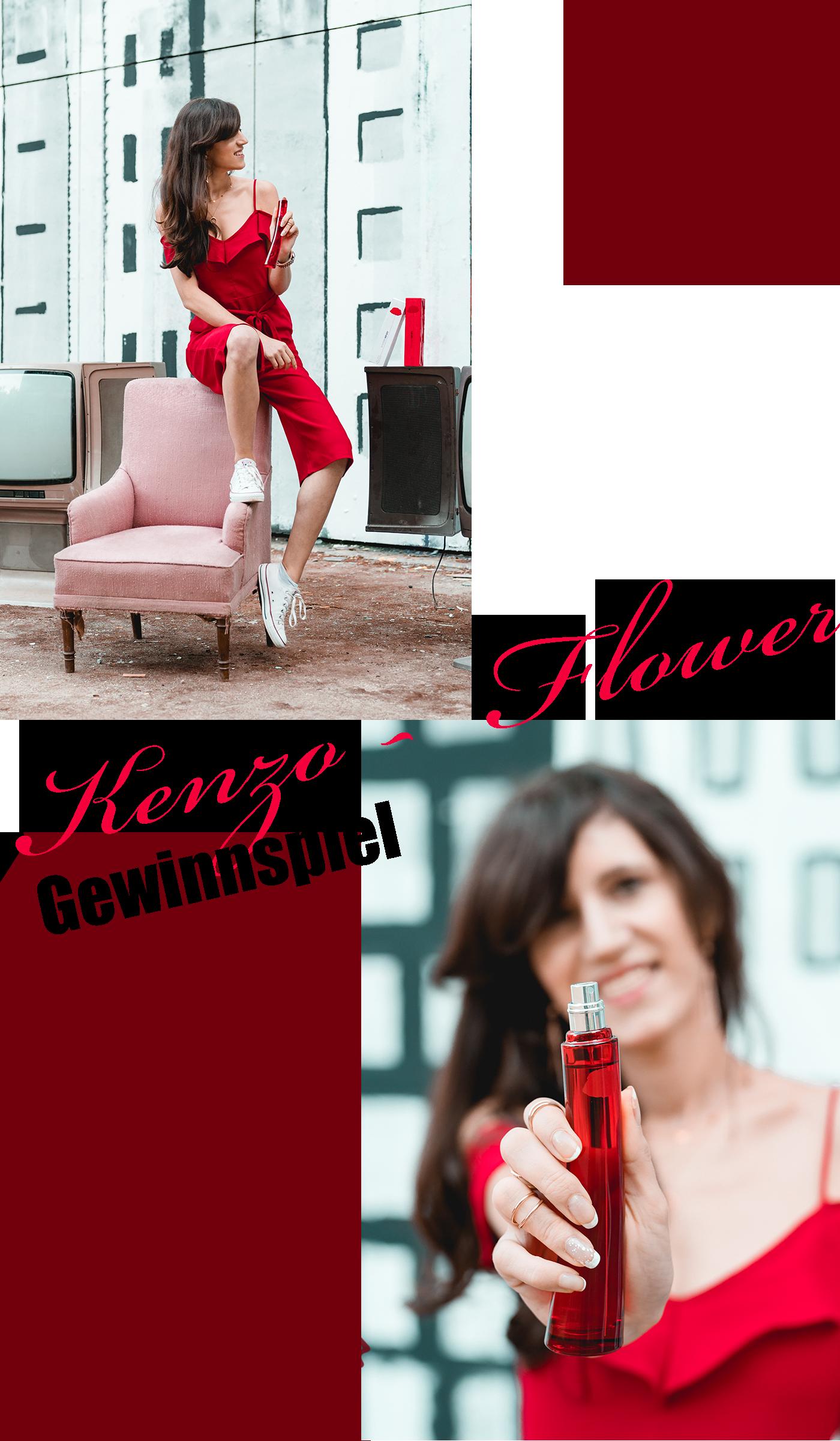 Bild: Outfit, Jumpsuit, roter Jumpsuit, Flower by Kenzo, Flower by Kenzo Red Edition, Gewinnspiel